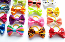 100Pcs Assorted Dog Hair Bows W/ Rubber Band Bowknots Cat Puppy Hair Accessories