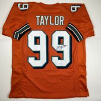 Autographed/Signed JASON TAYLOR Miami Orange Football Jersey JSA COA Auto