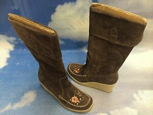 """Report Brown Suede Pull On Knee-high 3"""" Heel Wedged Boots Women Size 8, 8.5"""