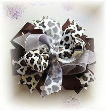 Leopard Brown and White 5 - 5 1/2 Inch Custom Made Boutique Hair bow