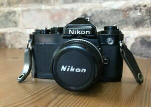 Nikon FE 35mm SLR Film Camera Black Body + Nikkor 50mm f1.8 lens Japan