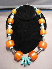 Bead with Turquoise & Silver Necklace Unusual 22 inch Copal African Trade