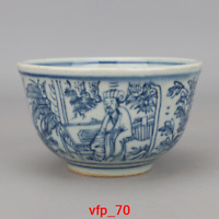 China antique Ming Dynasty Blue and white Character pattern Porcelain bowl