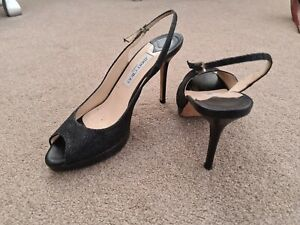 Jimmy Choo stiletto heels sandals slingback Black 40 7 peeptoe sparkly