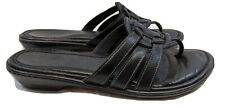 NATURE Women's BLACK Leather Slip on Sandals Shoes, Size 9 M
