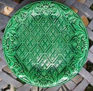 """Antique Sarreguemines Majolica 9"""" Green Plate"""
