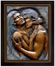 BILL MACK Original BRONZE Relief SCULPTURE art Signed EMBRACING bas Female Love
