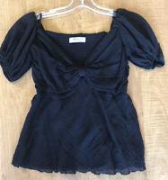 Bailey 44 Women's Top Black Short Sleeve Blouse Sweetheart Neck Small