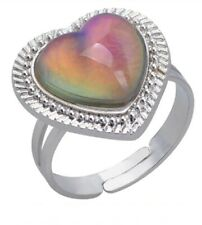 Beautiful Ladies Border Heart Mood Stone Ring - Silver Finish - Adjustable