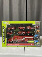 """Temi Diecast Emergency Action Vehicles With Play Mat """"Fire Rescue"""""""