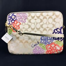 COACH Tablet IPad Crossbody, Logo beige/flower/gold, NWT SRP $128