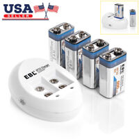 4x 9V 600mAh Battery + USB Charger for 9 Volt 6F22 Li-ion Rechargeable Batteries