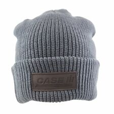 Case IH Agriculture *GREY LEATHER PATCH* LOGO Stocking KNIT CAP HAT *NEW!*