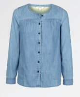 New Fat Face Stylish Soft Cotton Chambray Denim Blouse Shirt Long Sleeve RRP £40
