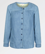 New Ex Fat Face Tessa Chambray Blouse Long Sleeve RRP £40 Just £15 Save £25