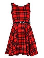 Women Ladies Belted Tartan Check Print Sleeveless Skater Flared Dress Top 8-26