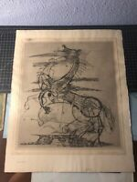"Original Johnny Friedlaender Etching Two Horses Signed 3/200 - 18x22"""