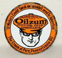 Oilzum Motor Oil Vintage Style Porcelain Sign Gas Pump Plate Man Cave Station