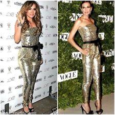 NWT bebe top black belt gold sequin sparkle strapless romper jumpsuit S Small