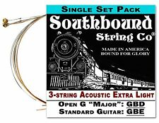 Cigar Box Guitar String Set: 3-string Acoustic Extra Light Open G/Std