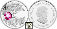 2012 Prf $3 'October(Tourmaline)Birthstone' Crystalized Silver Coin .9999(12972