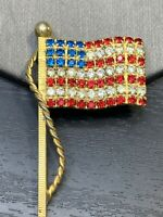 """Vintage Brooch Pin USA pride American Flag  Rhinestone Accented Gold Tone 2"""""""