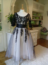 STUNNING BALL GOWN DRESS 12 14 SILK EMBROIDERY JEWELS BLACK NUDE CHINESE FAIRY