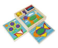 Melissa & Doug Beginner Wooden Pattern Blocks Educational Toy With 5 Double-Side