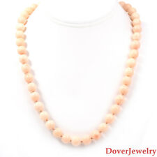 Vintage Angel Skin Coral 14K Yellow Gold Bead Necklace 65.5 Grams NR