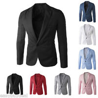 Mens Blazer Coat Jacket One Button Smart Slim Fit Blazers Casual Suit Outerwear