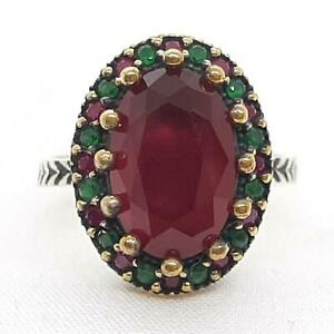 Deco 3.90ctw Ruby & Emerald 14K Yellow Gold 925 Sterling Silver Ring Size 8