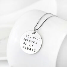 """""""you will forever be my always"""" Message Pendant 925 Sterling Silver Necklace 18"""""""