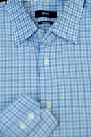 Hugo Boss Men's Shades of Blue White Check Cotton Dress Shirt 16 x 35