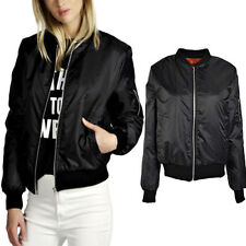 Fashion Women's Classic Bomber Jacket Ladies Vintage Zip Up Biker Coat Outwear