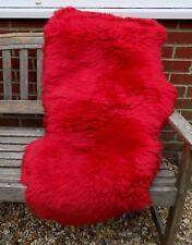 XL Extra Large - 100% Genuine British Sheepskin Rug - RED - Sheep Skin Real Pelt