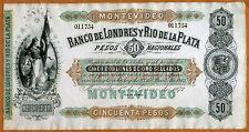 Uruguay, 50 pesos, 1872, P-S238r, Banco De Londres Y Rio De La Plata, aUNC
