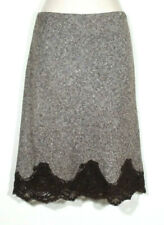 64b003e015 Body by Victoria's Secret Women Size 4 Straight Skirt Brown Tweed Lace Hem  Wool