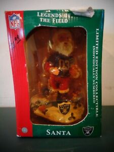 NEW RAIDERS NFL SANTA LEGENDS OF THE FIELD BOBBLE HEAD LIMITED EDITION