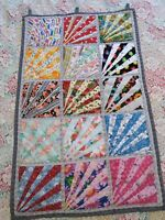 """Wall Quilt Diagonal Strips Assorted Prints 30"""" X 19"""""""