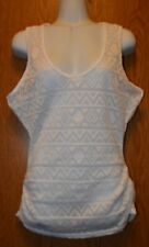 Junior Womens White Eye Candy Semi Sheer Tank Top Shirt Size Large NWT NEW