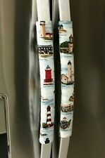 Refrigerator Oven Door Padded Handle Covers Lighthouses Set of Two