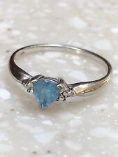 10k Solid White Gold Light Blue Topaz & Chip Diamonds Ring