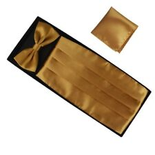 Gold Cummerbund Bow Tie Pocket Square Set Formal Party Wedding Prom Christmas