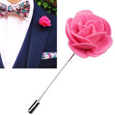 Felt Lapel Flower Boutonniere Stick Brooch Pin Men's Shirt Suit Tie Pink