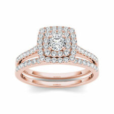 rose gold engagement and wedding ring sets