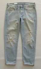 GAP Sexy Boyfriend Jeans 27 4 Cayman Light Blue Distressed Ankle 1969 Denim 2013