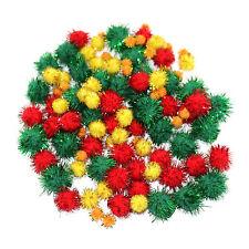 Christmas Tinsel Multicolour Arts & Crafts Multi-Size Pom Poms (35g Bag)