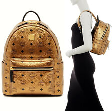 NWT MCM Stark Classic Small Backpack in Visetos Gold