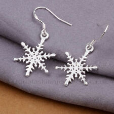 SNOWFLAKE Hook Earrings, Sterling Silver Plate, Winter Christmas Star Snow Drop