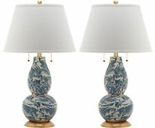 Set of 2 Safavieh Kennebec 28 in Table Lamp, Base Color: Navy/White   (C1)